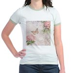 Vintage Pink flowers and butterfly Jr. Ringer T-Sh