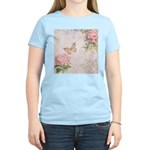 Vintage Pink flowers and butterfly Women's Light T