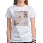 Vintage Pink flowers and butterfly Women's T-Shirt