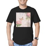 Vintage Pink flowers and butterfly Men's Fitted T-