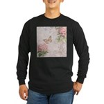 Vintage Pink flowers and butterfly Long Sleeve Dar