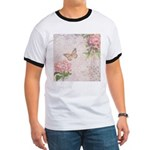 Vintage Pink flowers and butterfly Ringer T