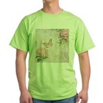 Vintage Pink flowers and butterfly Green T-Shirt