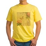 Vintage Pink flowers and butterfly Yellow T-Shirt