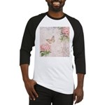 Vintage Pink flowers and butterfly Baseball Jersey