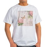 Vintage Pink flowers and butterfly Light T-Shirt