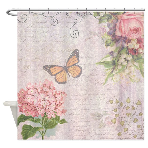 Vintage Pink flowers and butterfly Shower Curtain by InspirationzStore