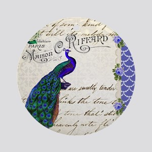Vintage peacock collage Ornament (Round)