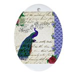 Vintage peacock collage Ornament (Oval)