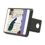 Vintage peacock collage Rectangular Hitch Cover
