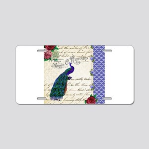 Vintage peacock collage Aluminum License Plate