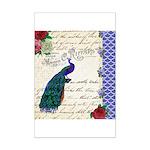 Vintage peacock collage Mini Poster Print