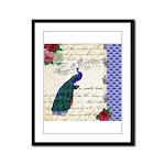 Vintage peacock collage Framed Panel Print