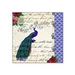 Vintage peacock collage Square Sticker 3