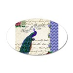 Vintage peacock collage 35x21 Oval Wall Decal