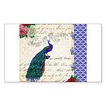 Vintage peacock collage Sticker (Rectangle 10 pk)