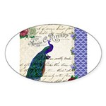 Vintage peacock collage Sticker (Oval)