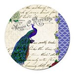 Vintage peacock collage Round Car Magnet