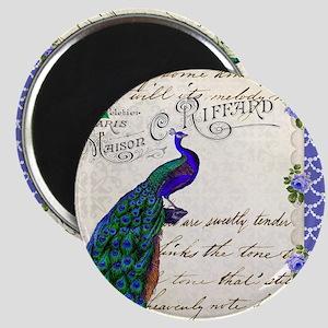 Vintage peacock collage Magnet