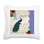 Vintage peacock collage Square Canvas Pillow