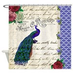 Vintage peacock collage Shower Curtain