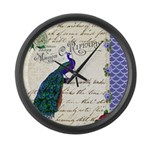 Vintage peacock collage Large Wall Clock