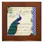 Vintage peacock collage Framed Tile