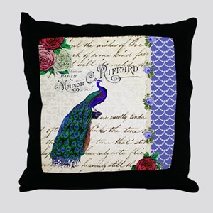 Vintage peacock collage Throw Pillow