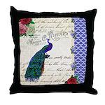 Vintage peacock collage Throw Pillow