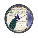 Vintage peacock collage Wall Clock