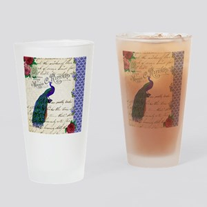 Vintage peacock collage Drinking Glass