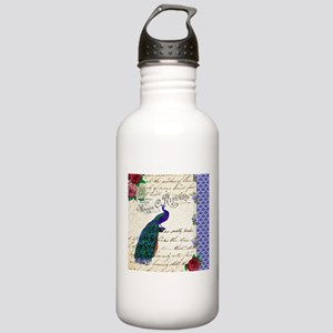 Vintage peacock collage Stainless Water Bottle 1.0