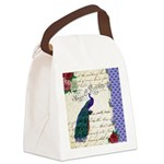 Vintage peacock collage Canvas Lunch Bag