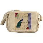 Vintage peacock collage Messenger Bag