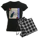 Vintage peacock collage Women's Dark Pajamas