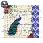 Vintage peacock collage Puzzle
