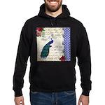 Vintage peacock collage Hoodie (dark)