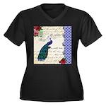 Vintage peacock collage Women's Plus Size V-Neck D