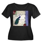 Vintage peacock collage Women's Plus Size Scoop Ne