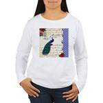 Vintage peacock collage Women's Long Sleeve T-Shir
