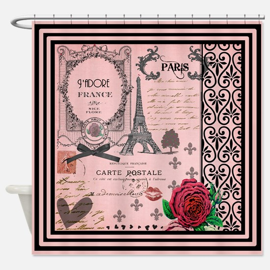 Vintage Pink Paris Collage Shower Curtain