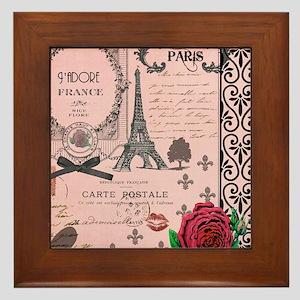Vintage Pink Paris Collage Framed Tile