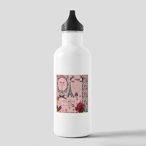 Vintage Pink Paris Collage Stainless Water Bottle