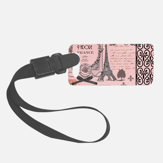 Vintage Pink Paris Collage Luggage Tag