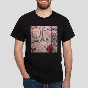 Vintage Pink Paris Collage Dark T-Shirt