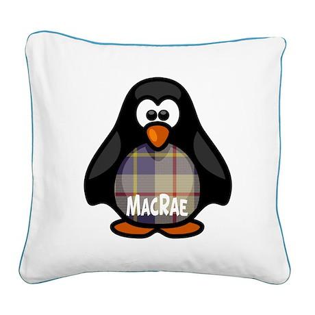 MacRae Tartan Penguin Square Canvas Pillow
