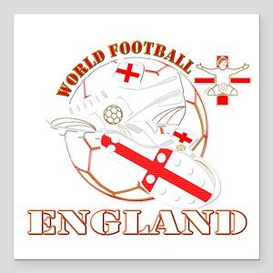 World Football England Design Square Car Magnet 3&