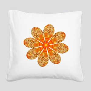 Flower Jewel Square Canvas Pillow