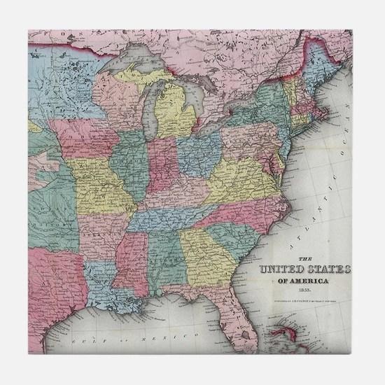 Vintage United States Map (1853) Tile Coaster