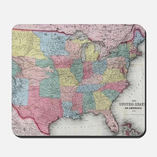 Vintage United States Map (1853) Mousepad
